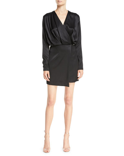 Long-Sleeve Blouson-Top Double-Charmeuse Mini Cocktail Dress