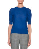Crewneck Short-Sleeve Superfine Cashmere Sweater
