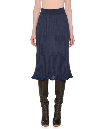 Ribbed A-Line Below-Knee Pull-On Wool-Blend Skirt