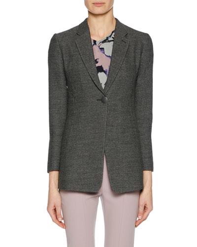One-Button Notched-Lapel Fine Boucle Jacket