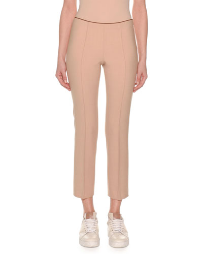 Flat-Front Straight-Leg Ankle Pants