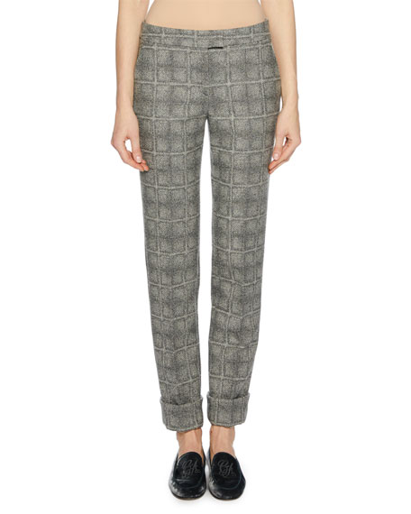 Giorgio Armani Wool-Blend Check-Patterned Pants