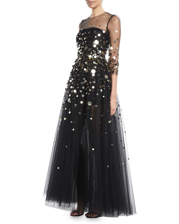 MONIQUE LHUILLIER 3/4-Sleeve Macro-Paillette Tulle Evening Gown ...