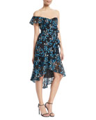 One-Shoulder Floral-Guipure Lace Ruffle Dress