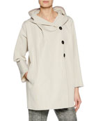 3-Button Hooded Rain-Repellant Caban Jacket