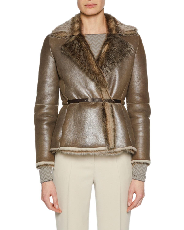 Metallic Belted Shearling Fur Jacket