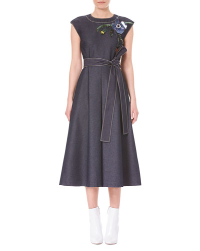 Cap-Sleeve A-Line Denim Midi Dress with Embroidery Detail