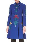Floral-Embroidered Double-Breasted Wool Coat