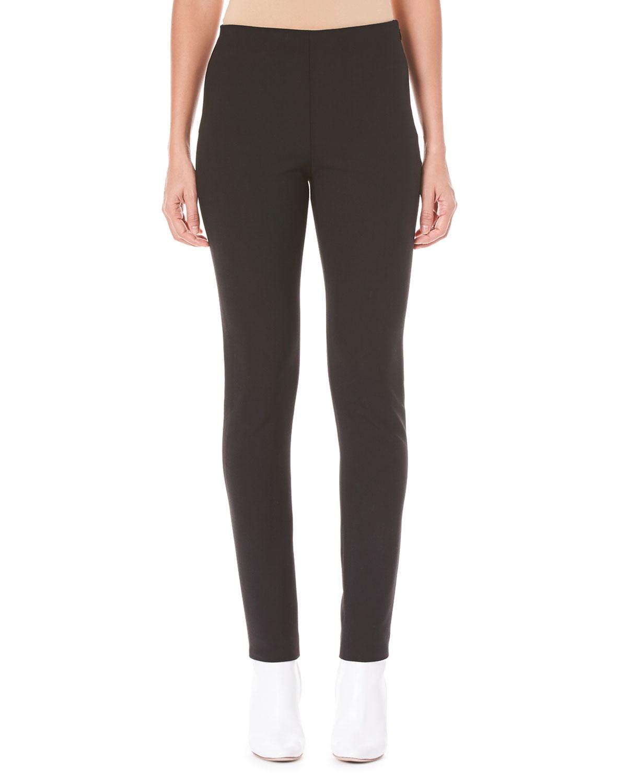 Side-Zip Skinny-Leg Wool-Blend Pants