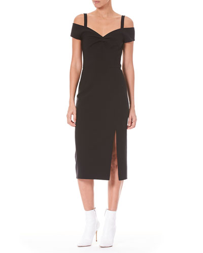 Off-the-Shoulder Wool Cocktail Dress