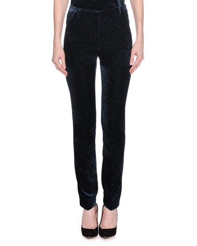 Mid-Rise Skinny-Leg Pinstripe Glitter Velvet Pants