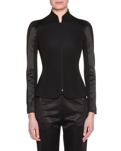 Zip-Front Viscose Jersey Jacket w/ Satin Inset