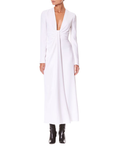 Plunging-Neck Twist-Front Long-Sleeve A-Line Cocktail Dress