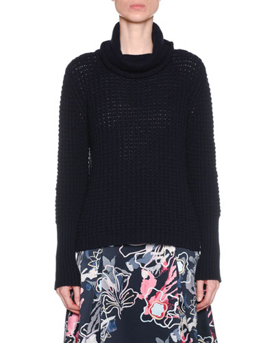 Turtleneck Chunky Wool-Cashmere Knit Sweater