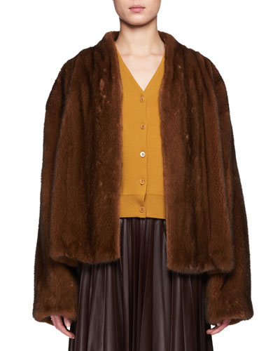 Moona Open-Front Mink Fur Jacket