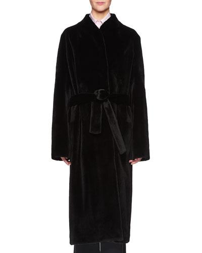 Paret Belted Long Mink Fur Coat