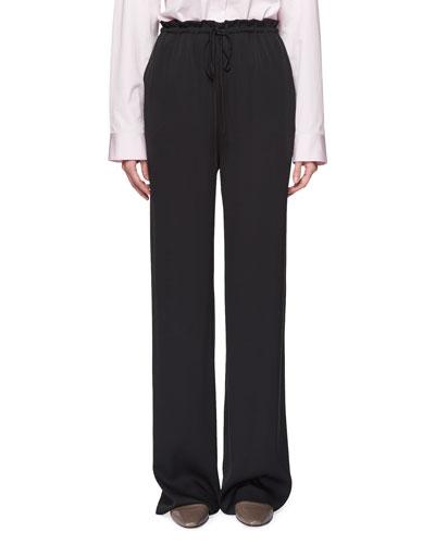 JR Tie-Waist Straight-Leg Silk Pants