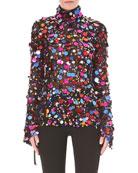 Turtleneck Long-Sleeve Paillette-Embellished Cocktail Blouse w/ Back Ties