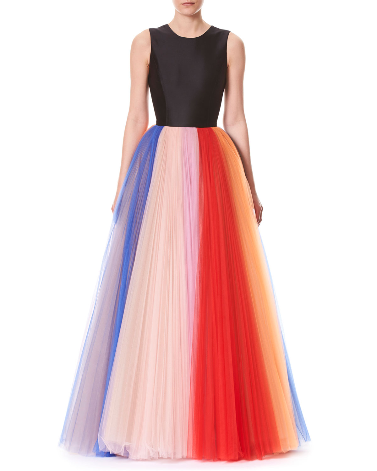 Sleeveless Evening Gown W/ Pleated Tulle Skirt, Black Pattern