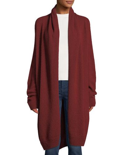 Elado Long Cashmere-Silk Open-Front Cardigan
