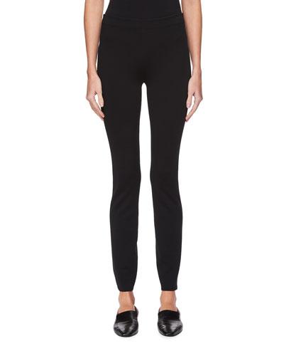 Helda Skinny Back-Hem Zip Stretch-Knit Pants