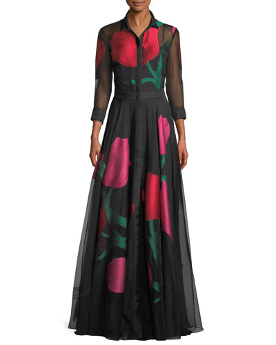 Full-Sleeve Plunging-V Tulip-Print Organza Evening Gown