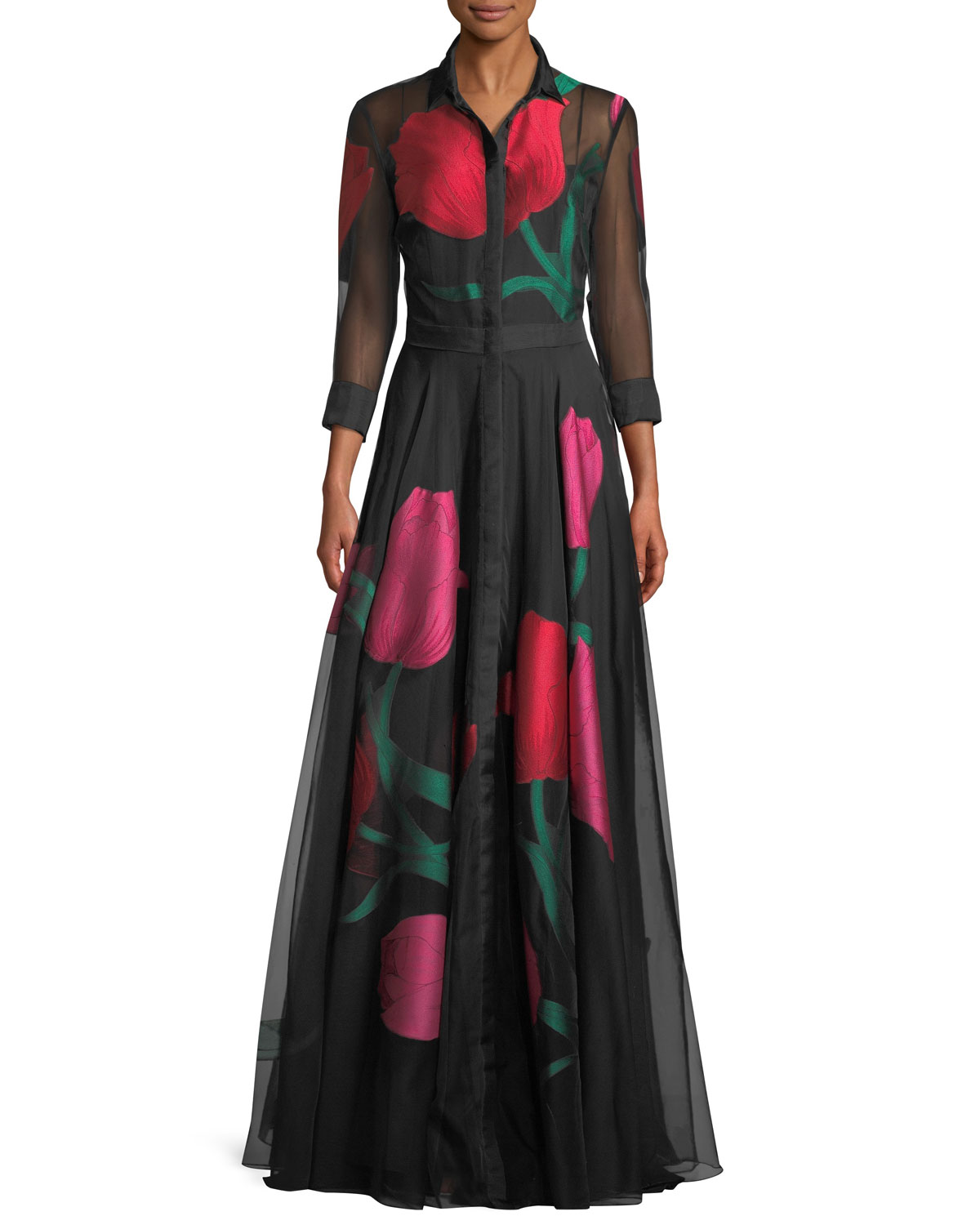 Full-Sleeve Plunging-V Tulip-Print Organza Evening Gown, Black Pattern