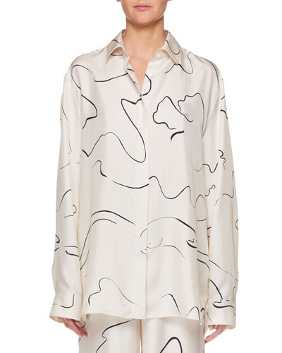 Big Sisea Button-Down Long-Sleeve Silk Shirt