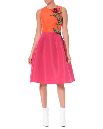 Sleeveless Colorblocked Fit-and-Flare Cocktail Dress w/ Floral-Embroidery