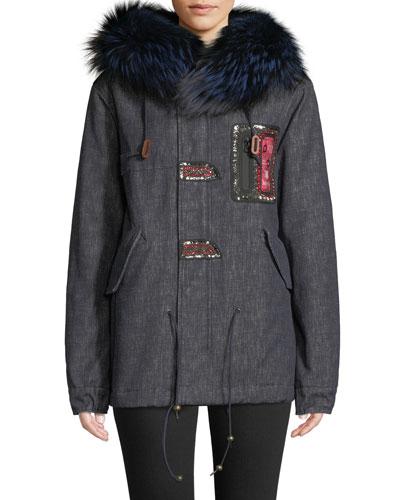 8632df5459c Quick Look. Mr Mrs Italy · Fox Fur-Collar Embroidered Denim Parka Jacket