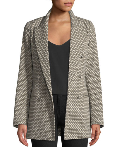 Double-Breasted Diamond-Jacquard Blazer