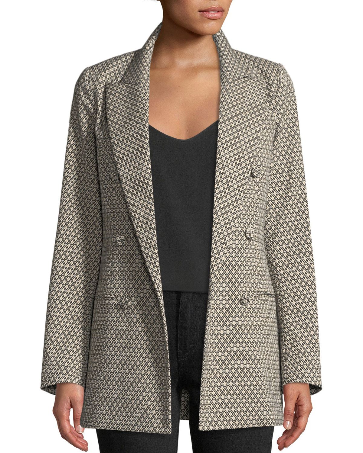 Double-Breasted Diamond-Jacquard Blazer, Black/White