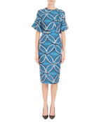 Fluted Elbow-Sleeve Geometric Floral-Jacquard Midi Dress