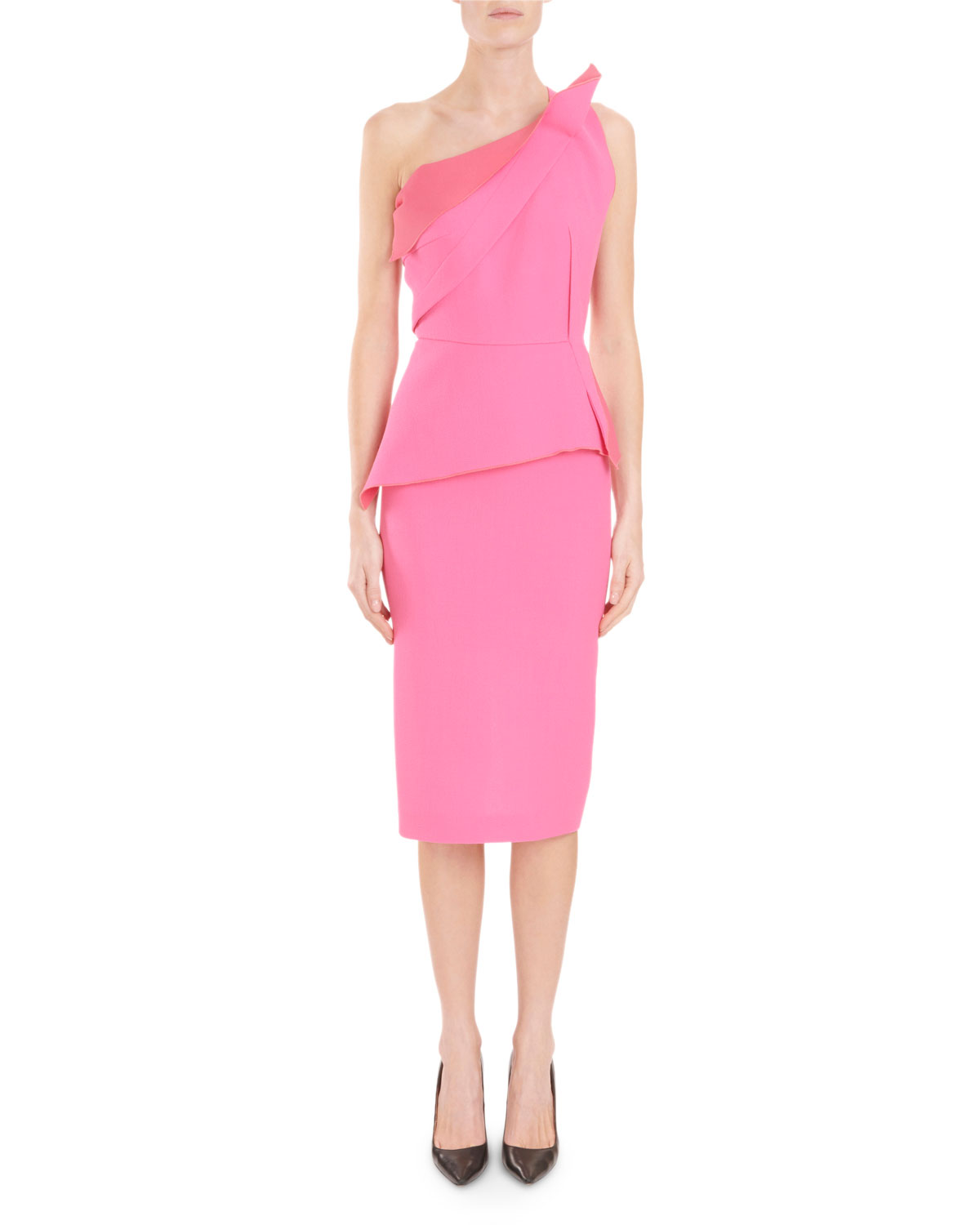 Mendes One-Shoulder Asymmetric-Drape Peplum Slim Cocktail Dress