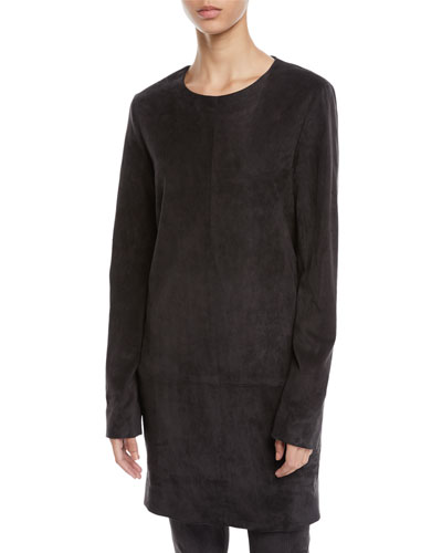 Rani Crewneck Long-Sleeve Short Suede Shift Dress