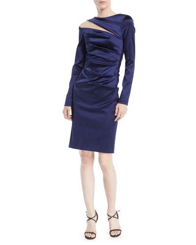 Rogue Shoulder-Slit Long-Sleeve Ruched Stretch-Satin Cocktail Dress