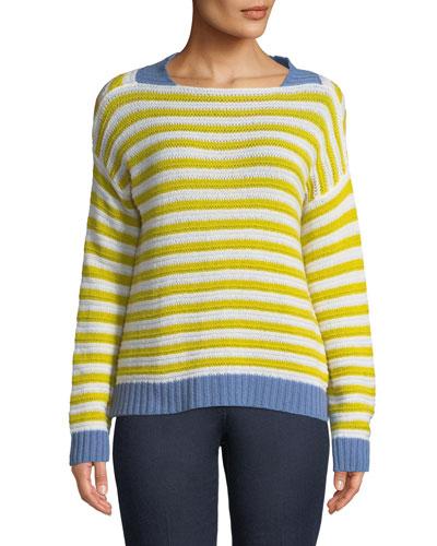 Striped Open-Weave Cashmere Pullover