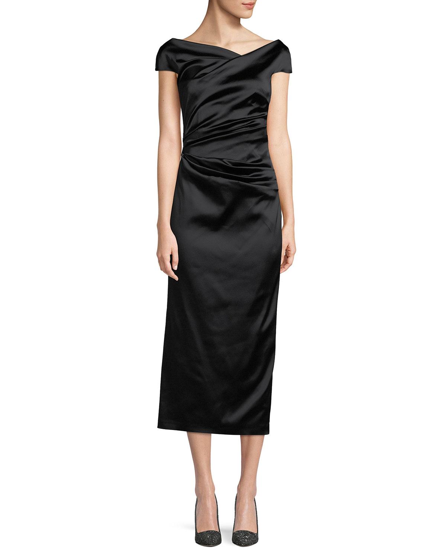 TALBOT RUNHOF Roya Asymmetric-Neck Cap-Sleeve Gathered Stretch-Satin Cocktail Dress in Black Pattern