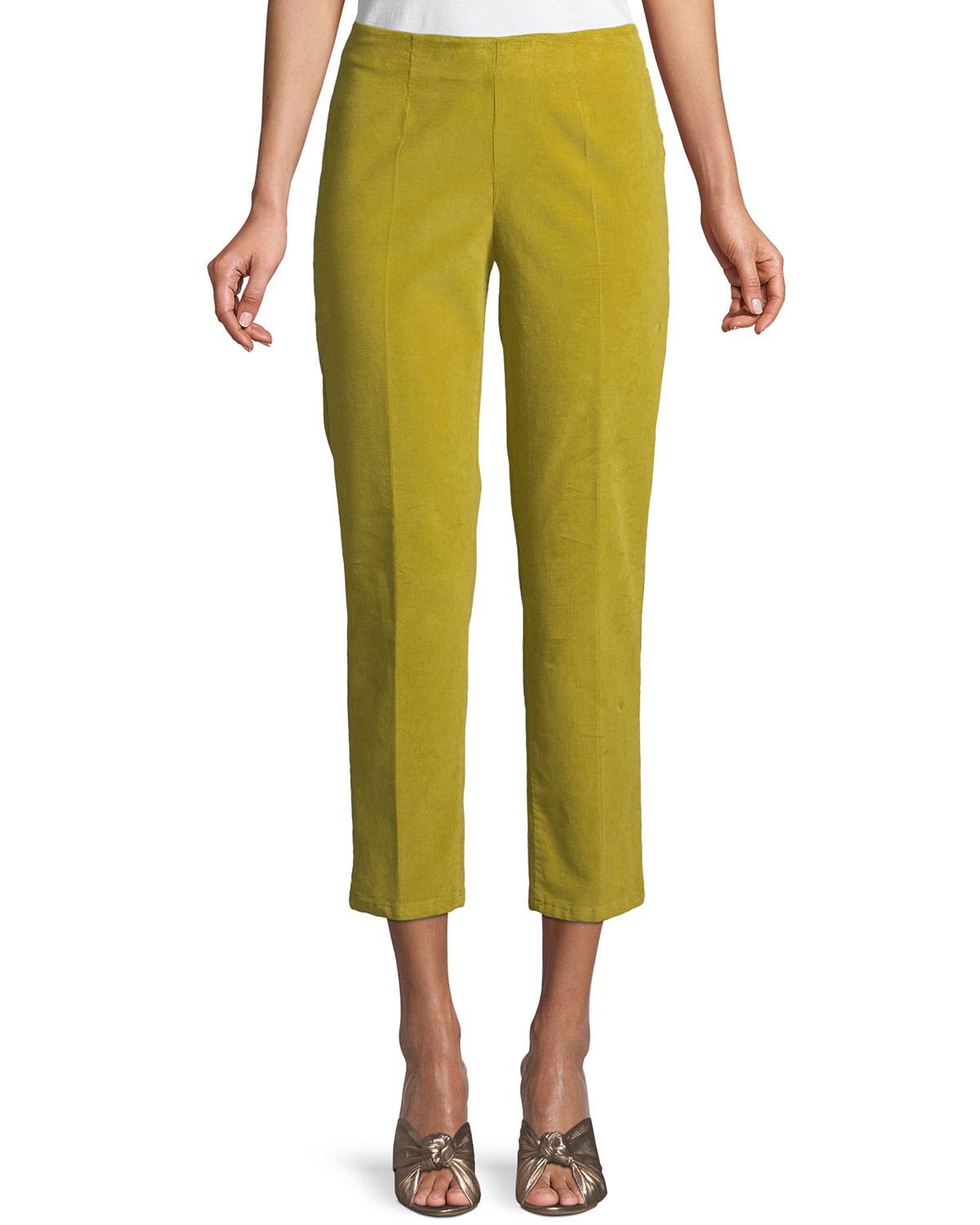 Audrey Side-Zip Straight-Leg Cropped Corduroy Pants