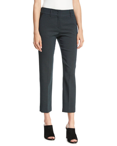 Kim Slim-Leg Check Cropped Trousers w/ Slash Pockets