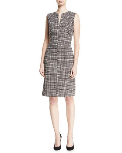 Slit-Neck Sleeveless Mini-Check Sheath Dress