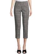 Audrey Graphic-Check Side-Zip Capri Pants