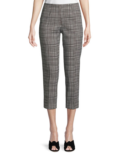 Audrey Graphic-Check Side-Zip Capri Pants