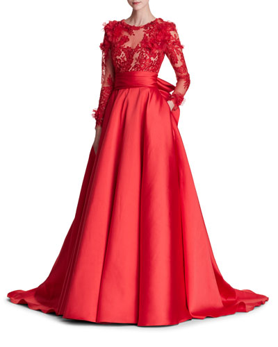 Long-Sleeve Corded Lace Duchess Satin Evening Gown w/ 3-D Organza Petals