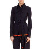 Button-Front Patch-Pocket Belted Wool Jacket w/ Contrast Hem