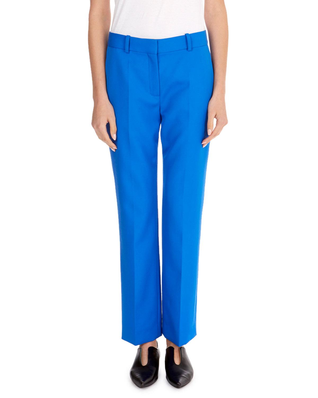 Flat-Front Slim Straight-Leg Ankle-Length Wool Pants