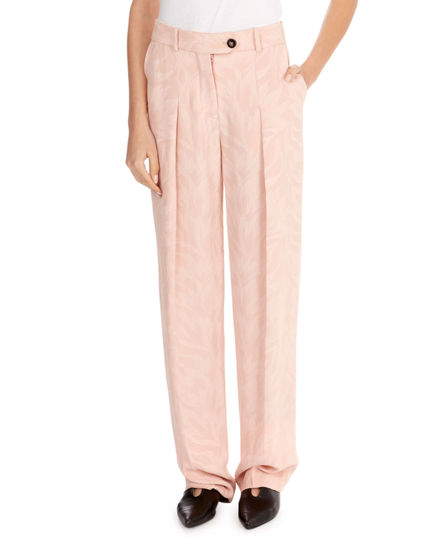 Flat-Front Wide-Leg Palm-Jacquard Pants