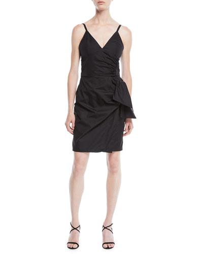 V-Neck Sleeveless Cotton Sundress w/ Bow Faux-Wrap Skirt