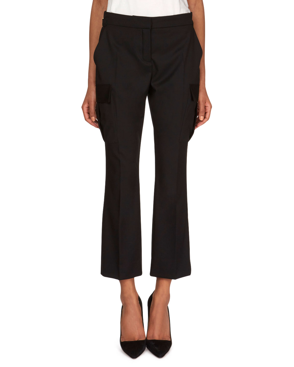 Straight-Leg Wool Pants with Cargo Pockets