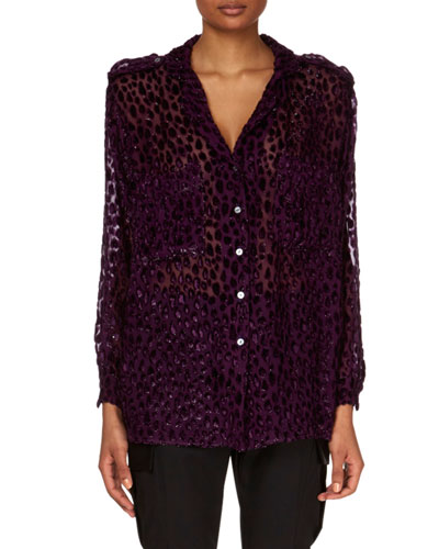 V-Neck Button-Down Velvet Devore Top